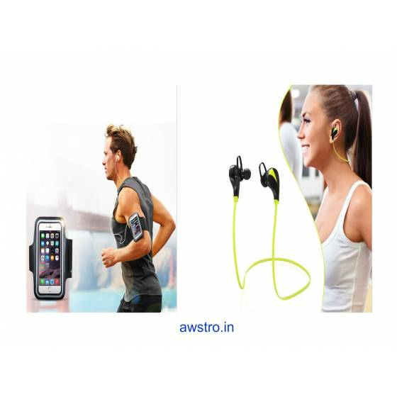 Awstro Qy7 Mini Wireless Sports Earphones & Sports Armband Waterproof Case Cover Holder ( Sweatproof & Secure )