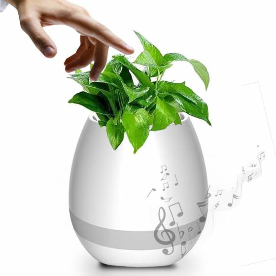 Music Flowerpot Speaker Smart Plant Pots Touch Music Plant Lamp with Rechargeable Bluetooth Speaker and LED Night Light