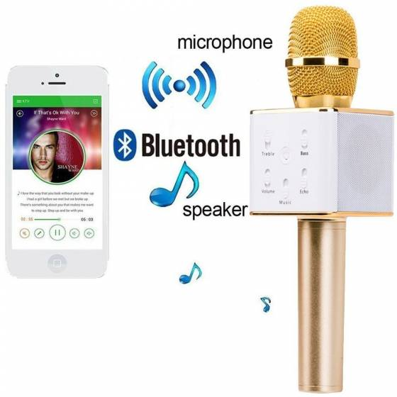 Magic Karaoke Q7 Microphone Bluetooth Speaker & Handheld Wireless Karaoke Microphone For IOS & Android