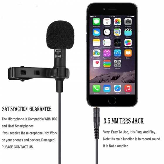 Mobile Microphone 3.5mm Clip On Mini Lapel Lavalier Microphone Noise Cancelling Lav Mic