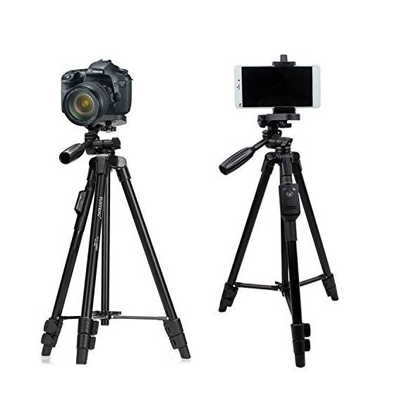 YunTeng VCT5208 Tripod with Bluetooth Remote Control Shutter for Mobile  Phones, DSLR, and Sports Cameras