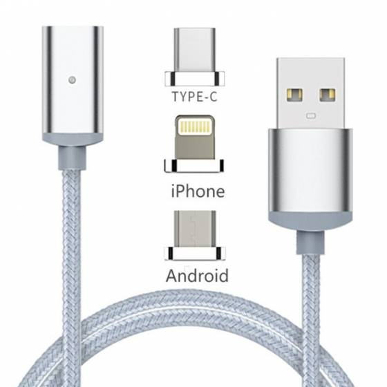 Awstro 3 in 1 Magnetic Lighting USB Charging & Data Transmission Cable For iPhone, Android & Type-C Mobiles - High Speed