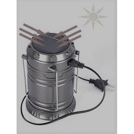 LED Solar Emergency Light Lantern + USB Mobile Charging point, 3 Power Source Solar, Battery, Travel Camping Lantern