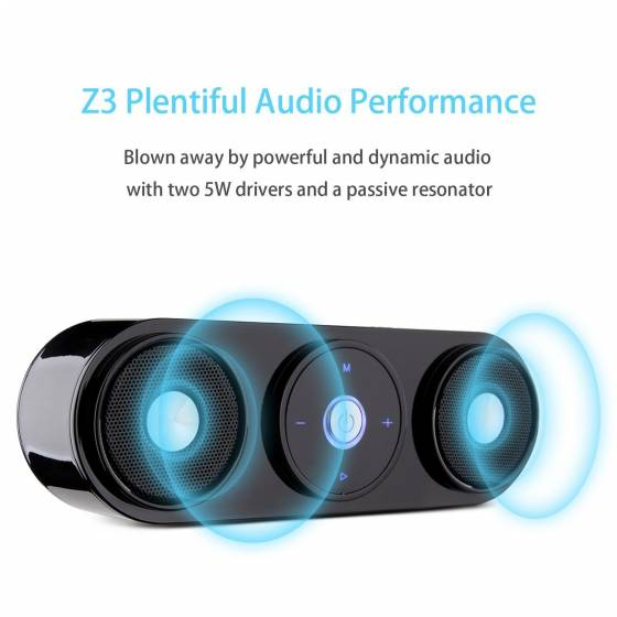 Z3 10W Portable Wireless Speaker with Enhanced Bass Resonator [Upgraded Bluetooth 4.0]