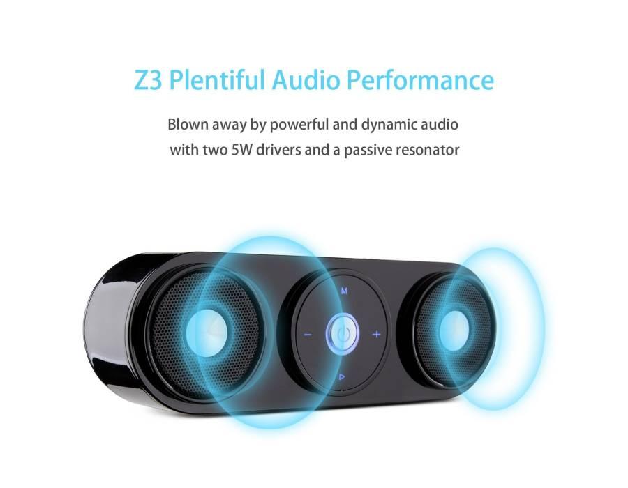 Z3 10W Portable Wireless Speaker, Computer Speaker with Enhanced Bass Resonator [Upgraded Bluetooth 4.0]