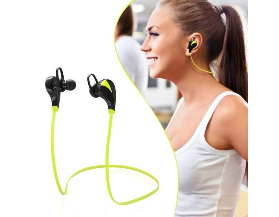 Awstro Qy7 Mini Lightweight Wireless Sports Earphones For Running - Sweatproof, Secure Ear Hooks Design (Black/Green)