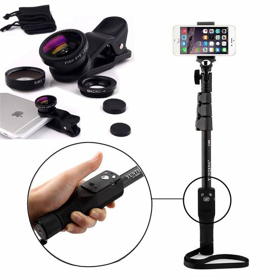 Yunteng YT 1288 Bluetooth Selfie Stick with 3 Mobile Camera Lens Kit Combo