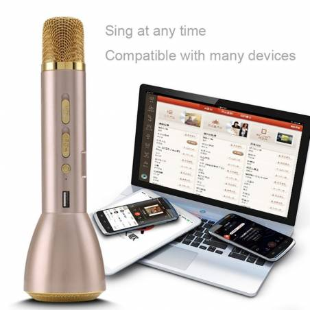 Wireless Bluetooth Portable Magic Karaoke Microphone and 5 Watt Speaker Compatible with Smartphones - Gold