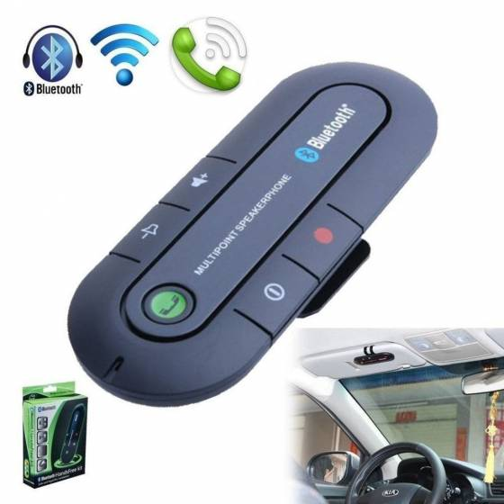 Portable Multipoint Wireless Hands-Free Bluetooth Sun Visor In-Car Speaker phone Car Kit (Black)