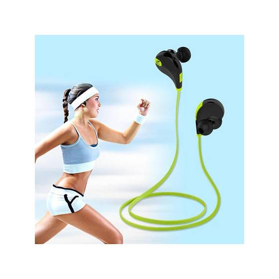 Awstro Qy7 Mini Lightweight Wireless Sports Earphones For Running - Sweatproof, Secure Ear Hooks Design (Black/Green)
